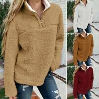 Women Teddy Bear Sweater Fleece Fluffy Sweatshirt Jumper Mock Neck Pullover Tops