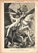 La Délivrance Ruggiero Sauve Angelica par Joseph Blanc Peintre GRAVURE 1877