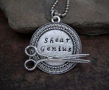 Handmade Hand Stamped Shear Genius Hairdresser Stylist Necklace