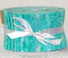 "Quilting Fabric Jelly Roll Strips Caribbean Blue/Green 100% Cotton 20~2.5""xWOF P"
