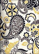 Yellow and Black Paisley curtain valance