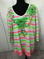 Berek 2 Womens Blouse Size 2X Green Pink Stripe Palm Trees Coconuts 3/4 Sleeves