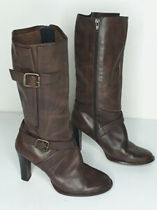 Bonbons Brown Leather Knee High Boots Size 6.5