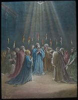 COLOUR Glass Magic Lantern Slide ASCENT OF THE HOLY GHOST C1900 RELIGIOUS STORY