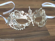 Venetian Masquerade Mask Metal Silver Filigree Ball Party Disco Halloween SM3