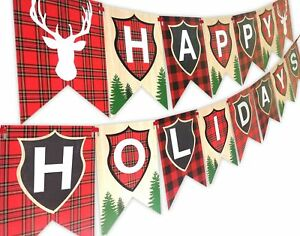 Woodland Reindeer Happy Holidays Banner Pennant Christmas Banner HH