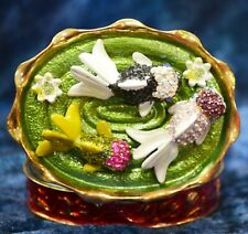 "Colorful Koi Pond Austrian Crystal Hinged Trinket Box Magnetic Closure 2.5""W HB7"