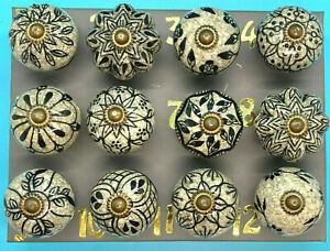 Ceramic Door/Drawer Knobs Black & Grey Beautiful Rustic Style Sold individually