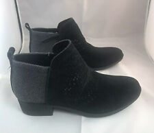 New TOMS Women's Ankle Boots Bootie Black Deia Perf Suede Sz UK 4 EUR 36.5 US 6