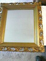 """Antique Victorian Wall Copper Plated Mirror Ornate Gilded Wood Frame 31"""" X 27"""""""