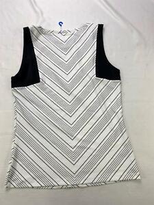 Athleta Womens Vertical Striped Tank Top Medium Black/White  1277