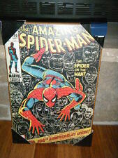 """1971 THE AMAZING SPIDER-MAN MARVEL COMIC #100 COVER WOODEN WALL PLAQUE 13"""" X 19"""""""