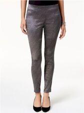 Alfani Jaquard Black/Silver Metallic Skinny Pants Comfort Waist Size 8 MSRP $74