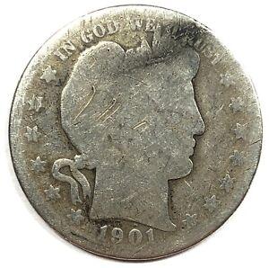 1901-S United States Silver Barber Half Dollar - AG