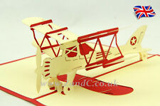 Airplane 3D Pop Up Greeting Handmade Kirigami Cards All Occasion AEROPLANE