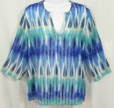 CHICO'S Size 1 S/M Beaded Vibrant Cobalt Blue Turquoise Sheer Pullover Blouse