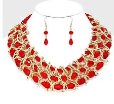 Gold Red Chunky Bib Multi Layered Pearl Bead Bridal Necklace And Earring Set