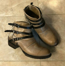 FREEBIRD BY STEVEN All Leather Mateo Strappy Ankle Boot Size 10 Womens