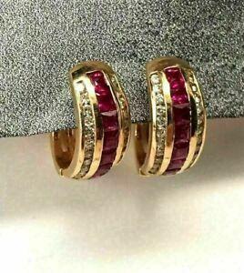 2CT Princess Cut Ruby & Diamond Huggie Hoop Earrings 14K Yellow Gold Finish