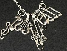 """Trombone Music Notes Charm Tibetan Silver with 18"""" Necklace BIN"""
