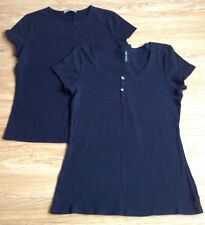 2 X Ladies Marks And Spencer Black T Shirt Tops - Size Medium