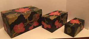 Floral Wooden Handcrafted Nesting Boxes With Hinged Lids - SET OF 3. Decorative