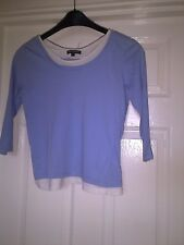 LADIES BLUE AND WHITE T.SHIRT SIZE S DEBBIE MORGAN 3/4 SLEEVE