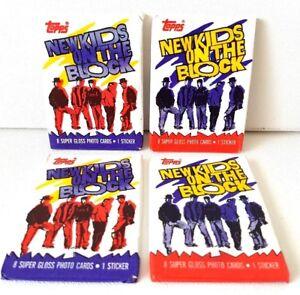 Lot 4 packs NEW KIDS ON THE BLOCK Wax Pack 8 cards 1 sticker NKOTB Vintage