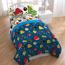 Angry Birds Microfiber Reversible Twin Comforter Bedding Blanket + Tote bag NEW