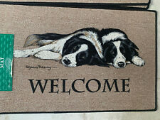 2 Black and White Collies Welcome door mat