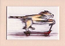 Cat Scooter-Original Whimsical Animal Art Watercolor by SQ Streater-5x7 matted