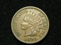 SPRING SALE!!  XF-AU 1891 INDIAN HEAD CENT PENNY w/DIAMONDS & FULL LIBERTY #159w