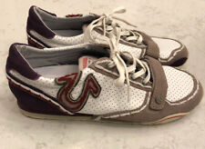 True Religion Womens Sneakers Size 8 White Logo Burgundy Lace Up Shoes