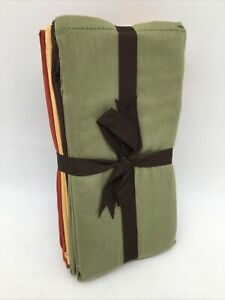 Fall Cloth Napkins, Set 8 Warm Harvest Colors Brown,Green,Gold Rust Holiday