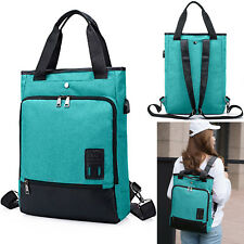 Mens Womens Laptop Rucksack Work Travel School Bags With USB Charging Port Green