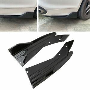 2x Glossy Black Rear Bumper Spoiler Lip Splitter Diffuser Universal Body Kit V4