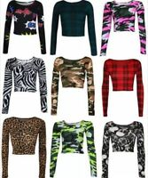 WOMENS LADIES CASUAL LONG SLEEVE PRINT PATTERN CROP JERSEY T SHIRT TOP 8-14