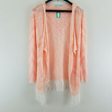 Maurices Women Small Sweater Cardigan Hooded Open Front Peach Fringe Boho