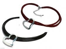 Markenlose Modeschmuck-Halsketten & -Anhänger aus Leder mit Herz-Schliffform