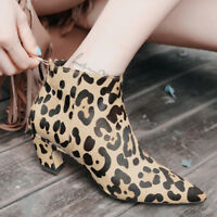 Womens Vogue Leopard Print Kitten Heel Lace up Pointy Toe Horse hair Ankle Boots