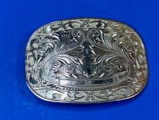 Western Vintage Silver Tone Blank Award Ribbon Belt Buckle Cowboy Rodeo Dress