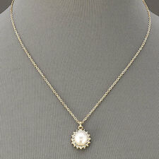 Gold Simple Elegant Thin Chain Necklace With Pearl Rhinestones Pendant