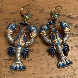 Vintage Betsey Johnson Rhinestone Lobster Enamel Earrings Large