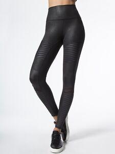 $110 ALO MOTO LEGGINGS Skinny Pants Performance Black /Glossy Black!