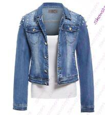 Womens Pearl Denim Jacket Ladies Stretch Jean Jackets Size 6 8 10 12 14 Blue