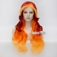 75CM Lolita Ombre  Red Mixed Orange Women Long Curly Heat Resistant Cosplay Wig