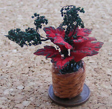 1:12 Scale Red Flowers In A Basket Tumdee Dolls House Miniature Garden Accessory