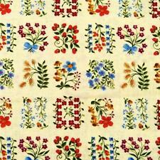 Tiny Flowers in Squares, Multicolor on Pale Yellow, Cotton, Per 1/2 Yard