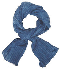 Ella Jonte Women's Scarf Blue Mottled Pleated Scarf Cotton Cloth Women's Scarf