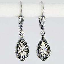 Ohrring Ohrhänger Silber Swarovski Kristall Tropfen – Vintage retro Crystal klar